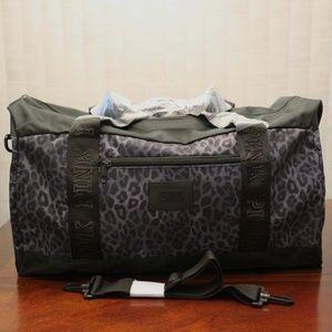 VS PINK Gym Duffle Bag, Gray Leopard